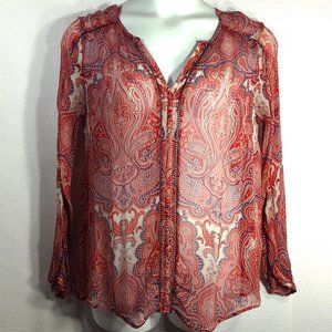 Lucky Brand Sheer Paisley Print Blouse